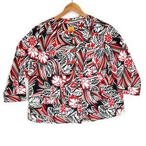 Ruby Rd Women's Red Palm Canvas Jacket Blazer
